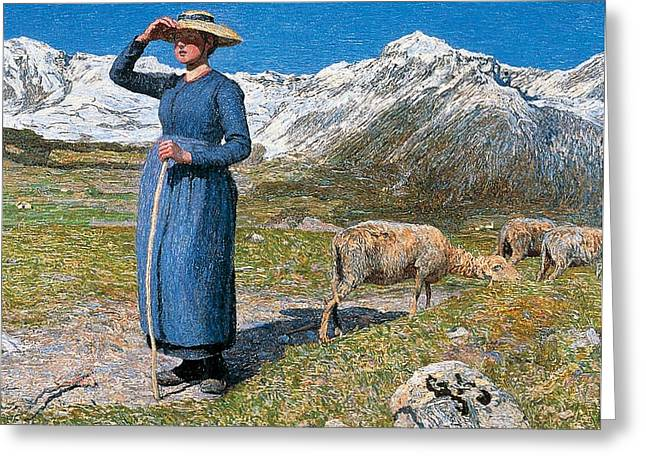 Contemporary Age Greeting Cards - Midday on Alps on windy day Greeting Card by Giovanni Segantini