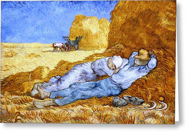 Midday Paintings Greeting Cards - Midday Rest  after Millet Greeting Card by Vincent van Gogh