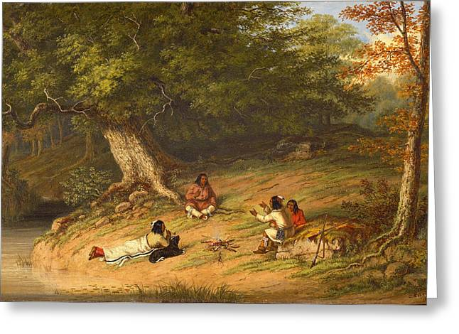 Midday Paintings Greeting Cards - Midday Rest Greeting Card by Cornelius David Krieghoff