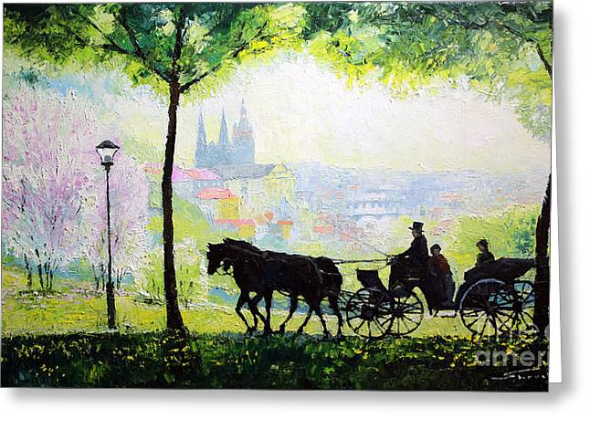 Carriage Greeting Cards - Midday Walk in the Petrin Gardens Prague Greeting Card by Yuriy Shevchuk