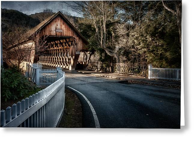 Vermont Village Greeting Cards - Middle Bridge - Woodstock Vermont Greeting Card by Thomas Schoeller