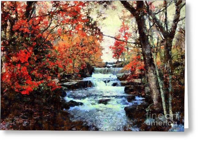 Red Leaves Mixed Media Greeting Cards - Middle Creek Mill Falls Greeting Card by Janine Riley