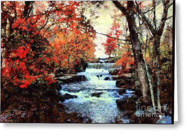 Pa Mixed Media Greeting Cards - Middle Creek Mill Falls Greeting Card by Janine Riley