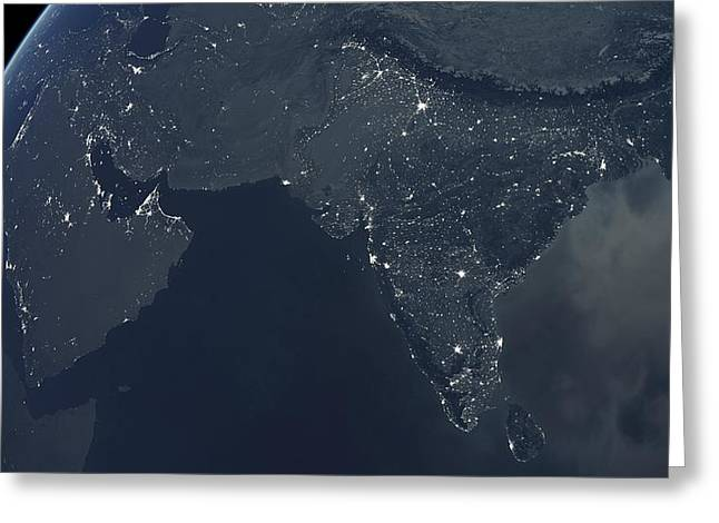 Planet Earth Greeting Cards - Middle East and India at night Greeting Card by Science Photo Library
