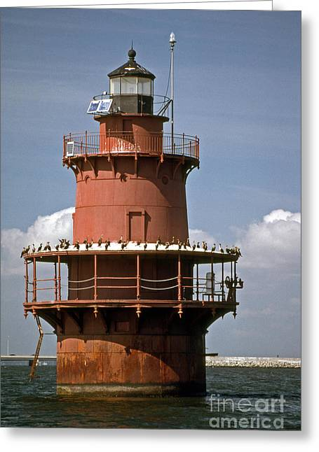Middle Ground Greeting Cards - Middle Ground Lighthouse Greeting Card by Skip Willits