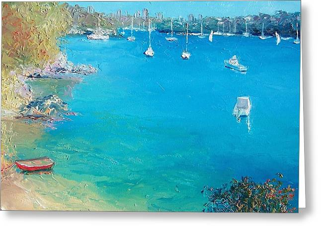 Ocean Greeting Cards - Middle Harbour Sydney Greeting Card by Jan Matson