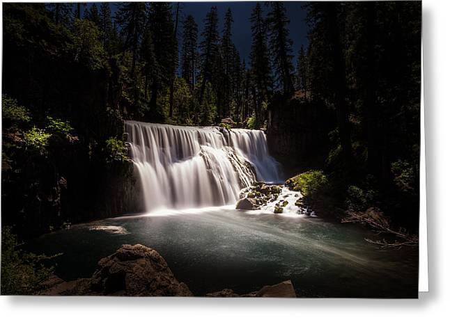 Moonlit Night Greeting Cards - Middle McCloud Falls Greeting Card by Scott McGuire