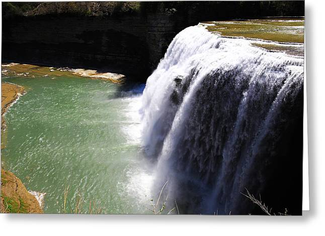 Mid West Landscape Art Greeting Cards - Middle Waterfalls In Letchworth State Park II Greeting Card by Paul Ge