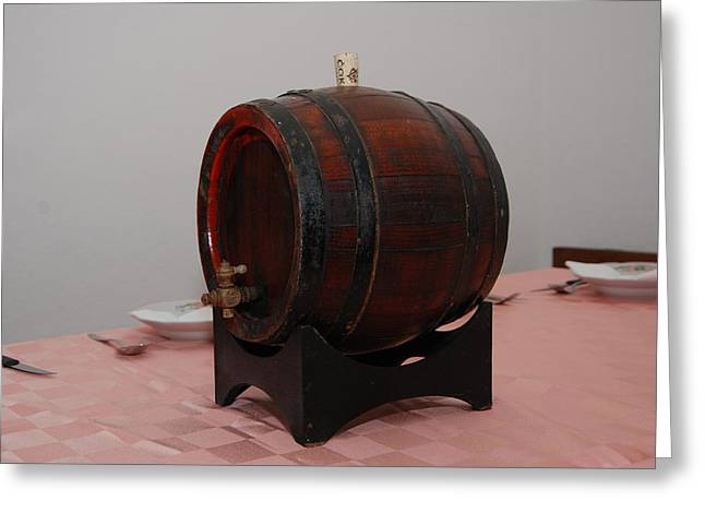 Wine Pyrography Greeting Cards - Midium Barrel for wine Greeting Card by Nikola Grozdanovic