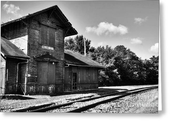 Abandoned Train Greeting Cards - Midland City Station BW Greeting Card by Mel Steinhauer