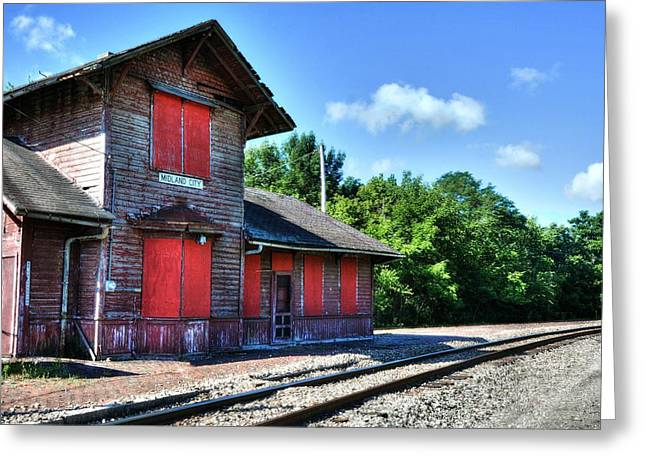 Iron Rail Greeting Cards - Midland City Station Greeting Card by Mel Steinhauer