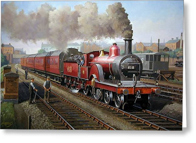 Locomotive Paintings Greeting Cards - Midland Railway single 1896. Greeting Card by Mike  Jeffries