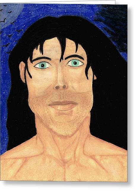 Human Pastels Greeting Cards - Midnight Adonis Greeting Card by Jessica Foster