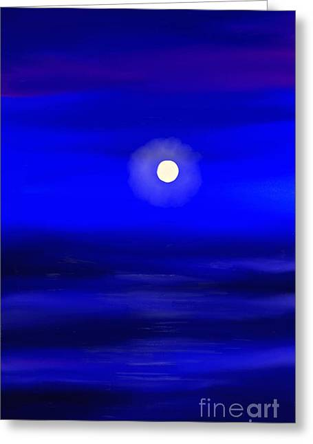 Sea Moon Full Moon Greeting Cards - Midnight Greeting Card by Anita Lewis