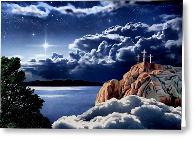 Cross On The Grave Greeting Cards - Midnight at Calvary Greeting Card by Ronald Chambers