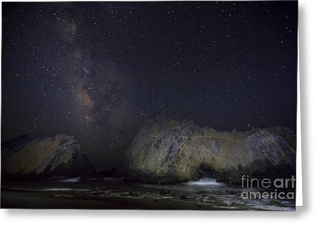 Pfeiffer Beach Greeting Cards - Midnight at Pfeiffer Beach Arch Greeting Card by Keith Kapple