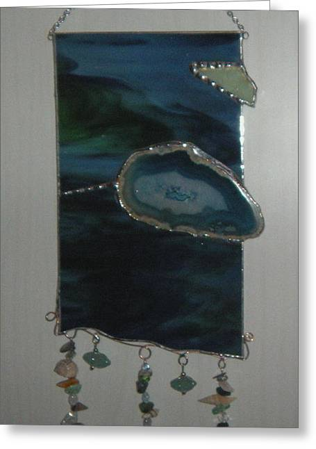 Sailing Glass Art Greeting Cards - Midnight at Sea Greeting Card by Nora Solomon