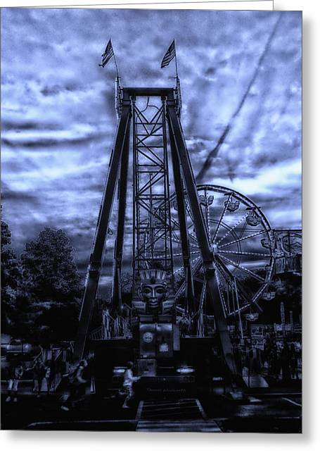 Calcined Greeting Cards - Midnight At The Carnival Greeting Card by Thomas Woolworth