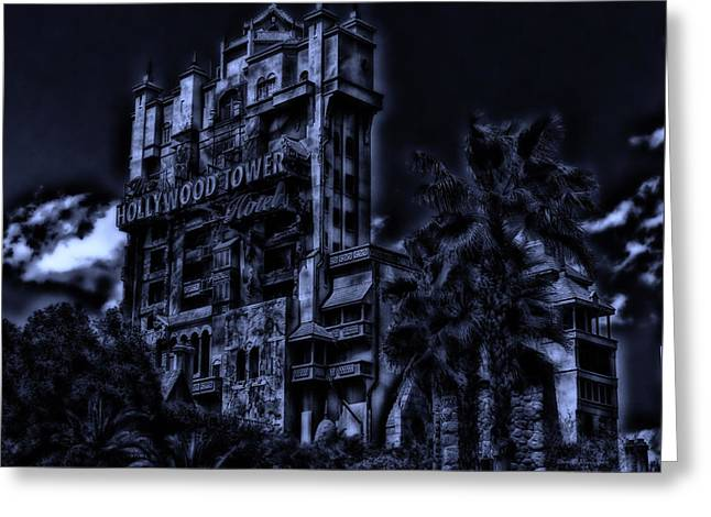 Walt Disney Boardwalk Greeting Cards - MidNight At The Tower of Terror Greeting Card by Thomas Woolworth