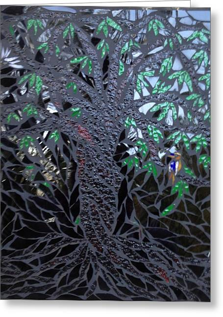 Tree Glass Greeting Cards - Midnight Banyan Greeting Card by Alison Edwards