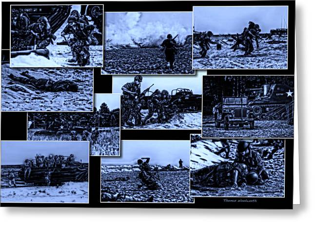 Beachhead Greeting Cards - Midnight Battle Collage Greeting Card by Thomas Woolworth