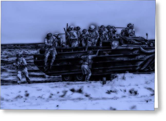 Beachhead Greeting Cards - Midnight Battle Hitting The Beach Greeting Card by Thomas Woolworth