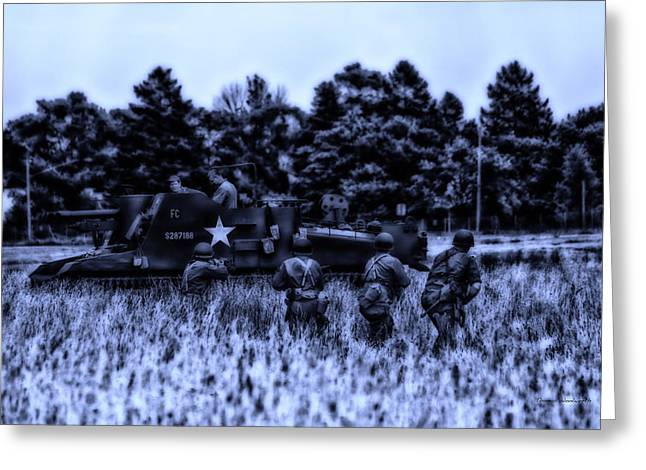 Beachhead Greeting Cards - Midnight Battle In The Fields Greeting Card by Thomas Woolworth