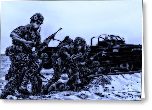 Beachhead Greeting Cards - Midnight Battle Lets Go Marines Greeting Card by Thomas Woolworth