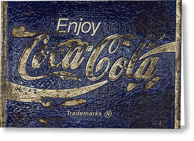 Midnight Blue Abstract Coca Cola Sign Greeting Card by John Stephens