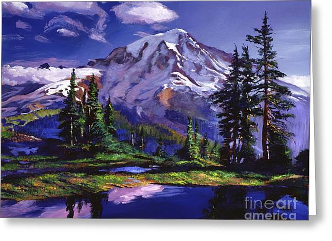 National Paintings Greeting Cards - Midnight Blue Lake Greeting Card by David Lloyd Glover