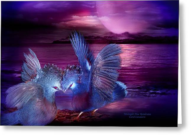Art Of Lovers Greeting Cards - Midnight Blue Rendevous Greeting Card by Carol Cavalaris