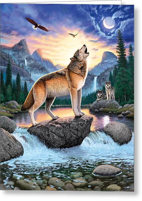 Wolf Moon Greeting Cards - Midnight Call Greeting Card by Chris Heitt