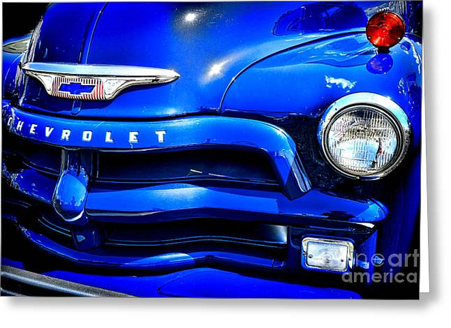 Chevy Pickup Greeting Cards - Midnight Chevrolet  Greeting Card by Olivier Le Queinec