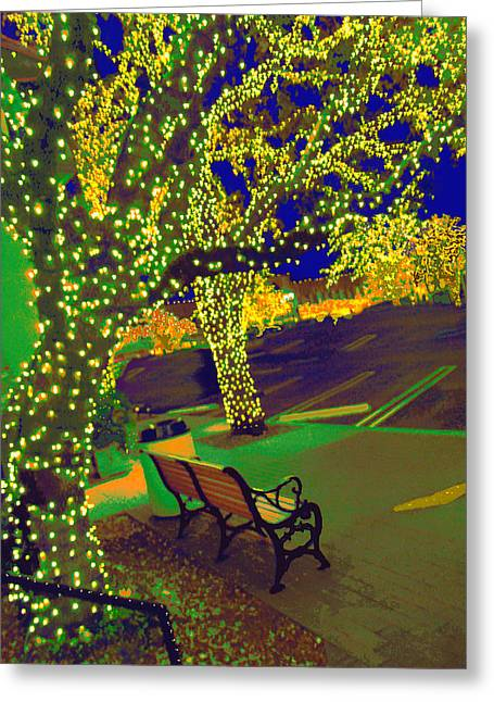 Van Gogh Style Greeting Cards - Midnight Lights At Highland Park Village Texas Greeting Card by ARTography by Pamela  Smale Williams