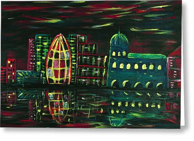 Midnight City Greeting Card by Anastasiya Malakhova