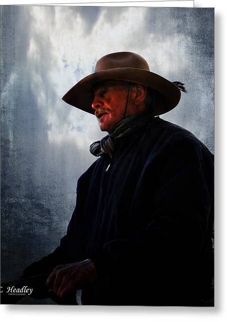 Moody Dusk Framed Prints Greeting Cards - Midnight Cowboy Greeting Card by Larry Headley