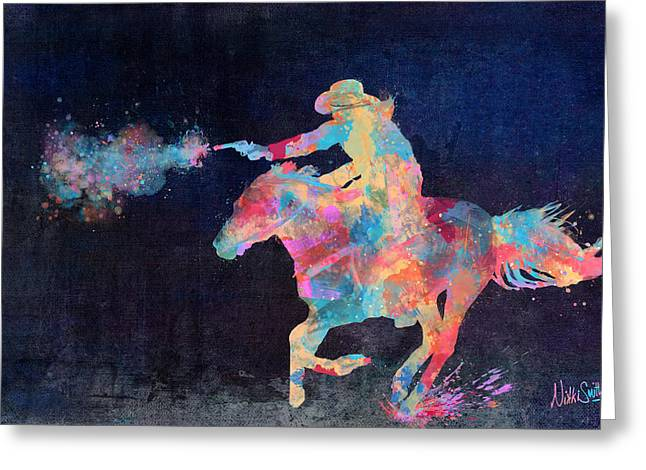 Multicolored Greeting Cards - Midnight Cowgirls Ride Heaven Help the Fool Who Did Her Wrong Greeting Card by Nikki Marie Smith