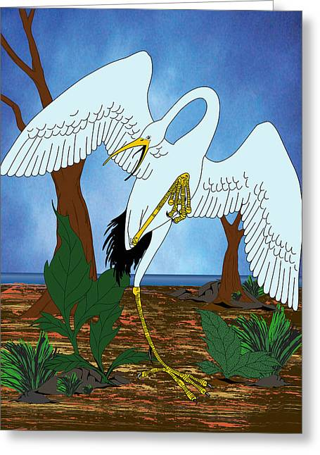 Midnight Crane Greeting Card by Charles Smith