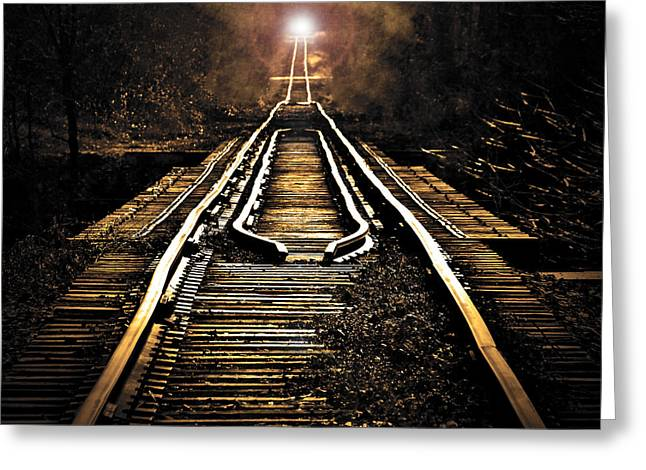 Train Bridges Greeting Cards - Midnight Crossing Greeting Card by Robert Geary
