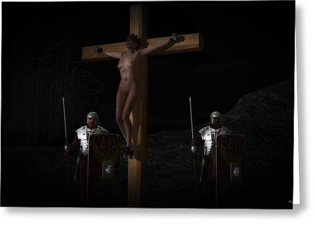 Female Christ Greeting Cards - Midnight crucifixion Greeting Card by Ramon Martinez