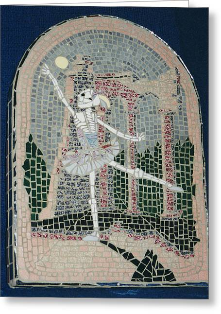 Mosaic Ceramics Greeting Cards - Midnight Dance Greeting Card by Pj Flagg Tongue in Chic