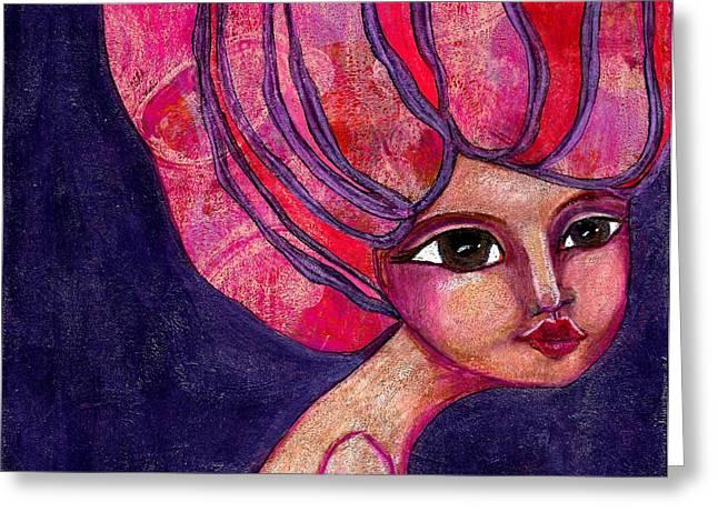 Lisa Noneman Mixed Media Greeting Cards - Midnight Dreamer Greeting Card by Lisa Noneman