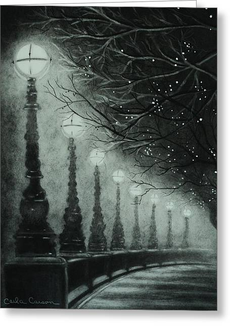 Streetlamp Drawings Greeting Cards - Midnight Dreary Greeting Card by Carla Carson