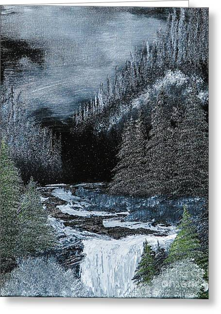 Bob Ross Paintings Greeting Cards - Midnight Falls Greeting Card by Dave Atkins