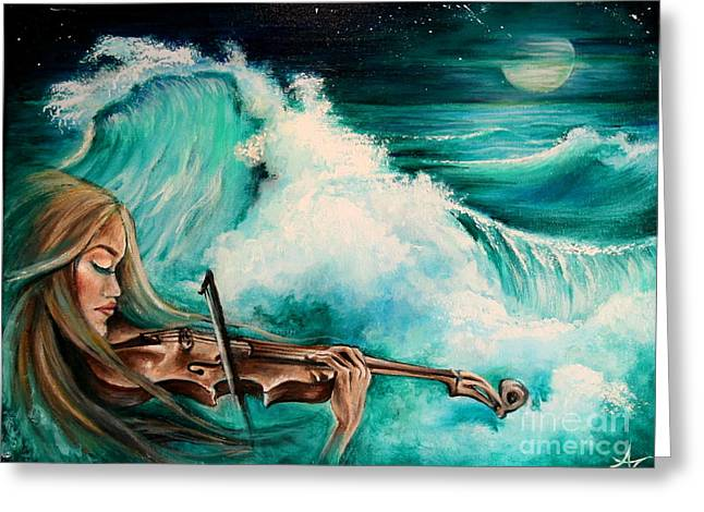 Turquoise Violin Greeting Cards - Midnight Fiddler Greeting Card by Amanda Nichols Mc