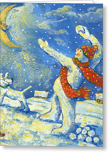 Snowman Christmas Card Greeting Cards - Midnight fun and games Greeting Card by David Cooke