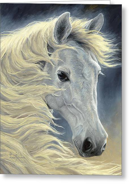 Arabian Horses Greeting Cards - Midnight Glow Greeting Card by Lucie Bilodeau