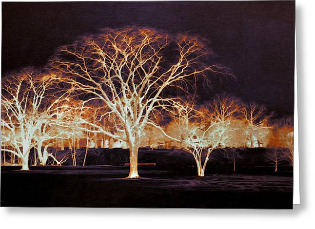 Inverted Color Greeting Cards - Midnight Glow Greeting Card by Shawna  Rowe