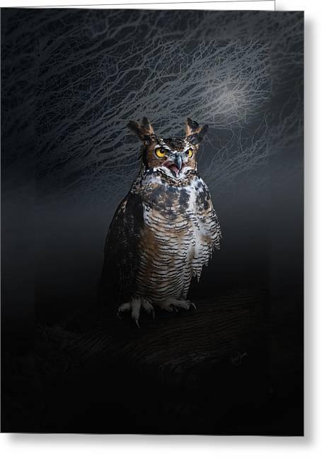 Moonlit Night Greeting Cards - Midnight Guardian Greeting Card by Renee Forth-Fukumoto
