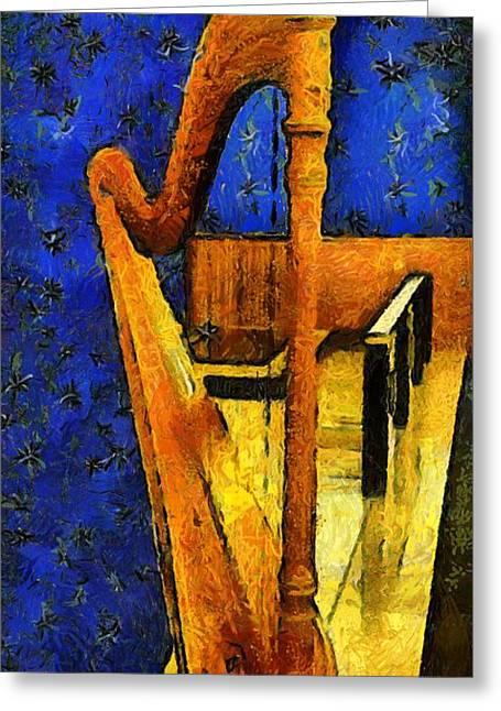 Midnight Harp Greeting Card by RC DeWinter